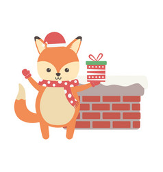 Cute fox with gift and chimney merry christmas vector