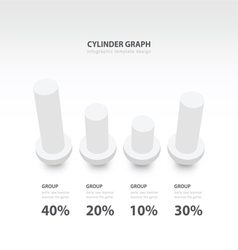 Cylinder infographic 3d graph template white color vector