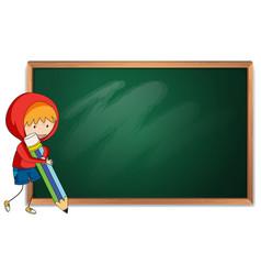 doodle boy holding pencil blackboard template vector image