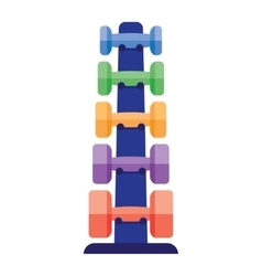 Dumbbells stack lined up vector