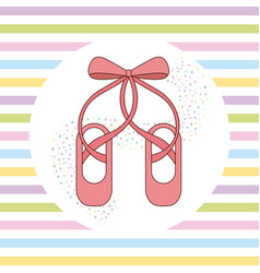 Elegant of ballet pink shoes with ribbon stripes vector