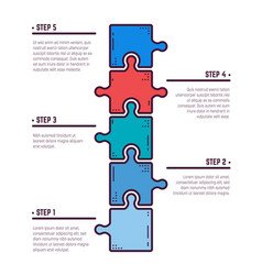 Five puzzle infographic steps vector