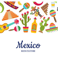 flat mexico attributes background with vector image