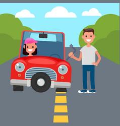 flat tire change vector image