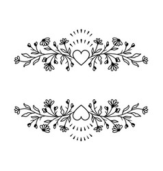 floral border frame wildflowers and hearts vector image
