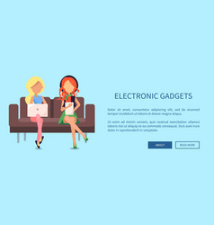 free wi-fi zone web banner with two women sitting vector image