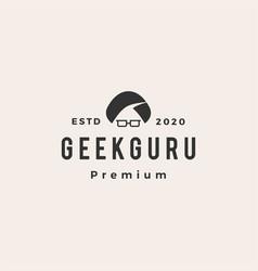 geek guru hipster vintage logo icon vector image