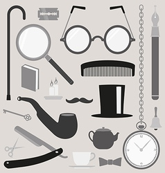 Gentlemens vintage stuff design elements set vector image