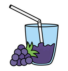 Glass with juice of grapes vector