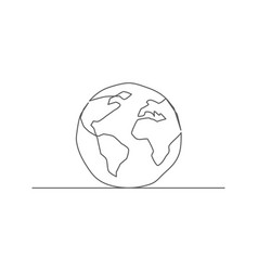 globe one line drawing vector image