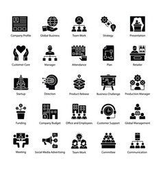 Glyph icons of business management vector