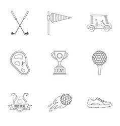 golf icons set outline style vector image