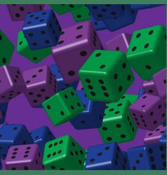 Green purple blue dice seamless pattern vector