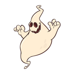 halloween cartoon ghost character vector image