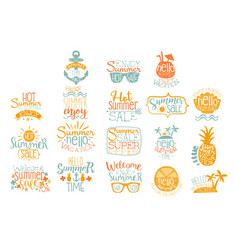 Hand drawn elements for summer calligraphic logo vector