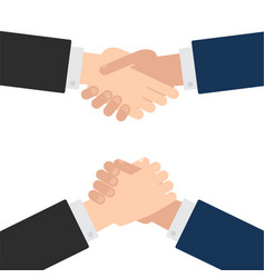 handshake and arm wrestling flat style set vector image