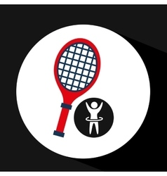 Happy man silhouette racket tennis sport icon flat vector
