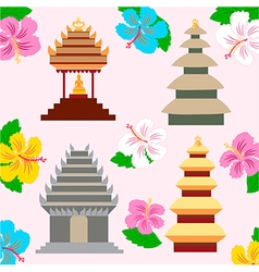 Indonesian pagoda and hibiscus flowers vector