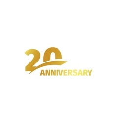 Isolated abstract golden 20th anniversary logo on vector