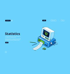 Landing page statistics and data analysis vector