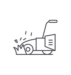 lawn mower line icon concept lawn mower vector image