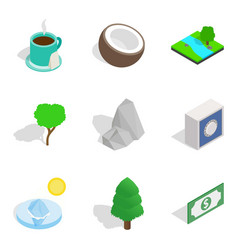 Life force icons set isometric style vector