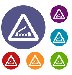 lifting bridge warning sign icons set vector image