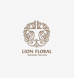 lion floral vector image