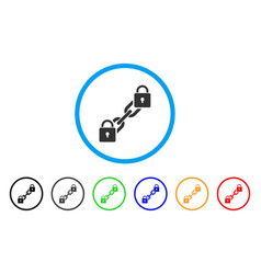 Lock blockchain rounded icon vector