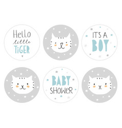 Lovely baby shower round shape tag set vector