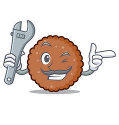 Mechanic chocolate biscuit mascot cartoon vector
