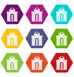 medieval palace icon set color hexahedron vector image