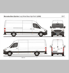Mercedes sprinter lwb high roof van l3h2 2017 vector