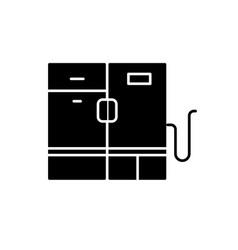 modern fridge black icon sign on isolated vector image