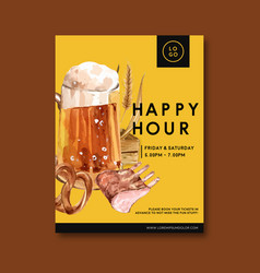 Oktoberfest poster with alcohol roast cereal vector