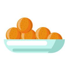 Orange fruits in fruit bowl plate grocery shop vector