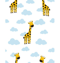 pattern with cartoon giraffe in clouds vector image