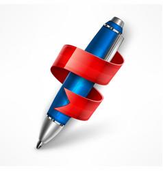 Pen ribbon vector