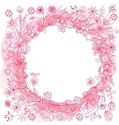 Pink wreath with stylized flowers vector image