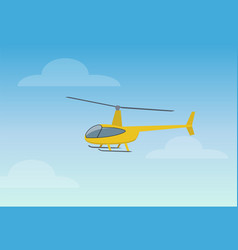 pretty yellow helicopter color vector image
