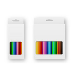 realistic box of colored pencils icon set vector image