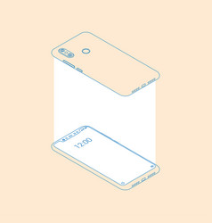 realistic flat outline modern two smart phone vector image