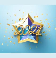 Realistic shiny 3d golden inscription 2021 happy vector