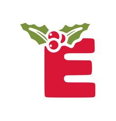 Red letter e with mistletoe christmas lettering vector