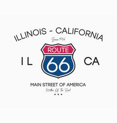 route 66 graphic slogan for t-shirt apparel vector image
