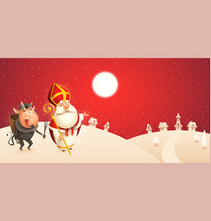 saint nicholas and krampus are coming to town vector image