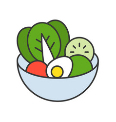 salad in bowl food and gastronomy set filled vector image