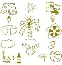 Seaside icon set doodle vector