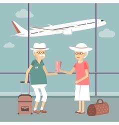 Senior Couple at Airport vector image