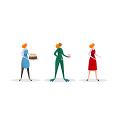 set female character in different clothing vector image